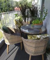 Okrągły stół ogrodowy technorattan rattan z 4 fotelami Contito