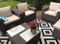 Piękne fotele jak rattanowe ze stolikiem kawowym California Cappuccino