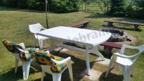Plastikowe meble ogrodowe obiadowe wysoki stół i krzesła