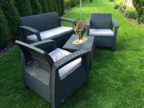 Plastikowe meble ogrodowe producent Curver - zestaw dwóch foteli i sofy grafitowe