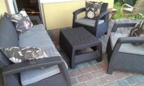 Popularne meble ogrodowe na taras Corfu Set Max z sofą trzyosobową