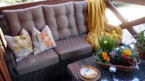 Sofa 3 osobowa technorattan z zestawu na taras Trivento Brown