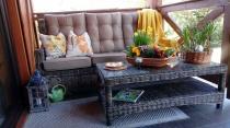 Sofa ogrodowa technorattan z poduszkami Trivento 3 Brown komplet na taras