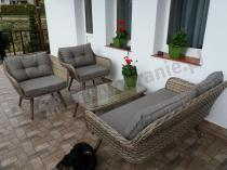 Sofa rattanowe na taras z dwoma fotelami i stolikiem Asturito