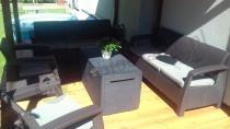 Sofa technorattan Corfu z fotelami i skrzynią Capri