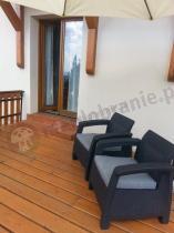 Solidne tanie meble ogrodowe technorattan look Corfu Duo - 2 fotele grafitowe na dużym tarasie