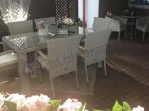 Stół obiadowy z krzesłami z technorattanu Nassico 160 Off-White Elite dla 6 osób