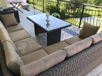 Stół ogrodowy z rattanu technicznego z narożnikiem technorattanowym Malibu