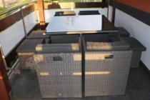 Stół ogrodowy z technorattanu z fotelami i pufami Cubioso Grey & Grey