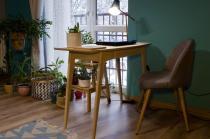 Stylowe biurko drewniane dębowe bielone z szufladą