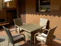 Szary technorattan stół i krzesła dla 4 osób Rimmni & Lugo