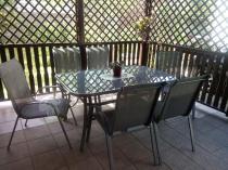 Szary zestaw ogrodowy metalowy dla 6 osób z krzesłami textiline
