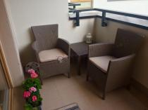 Tanie fotele na balkon ze stolikiem kawowym Rosario Balcony Set Cappuccino