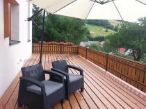 Tanie meble ogrodowe technorattan look - zestaw 2 foteli Corfu Duo grafitowy pod parasolem