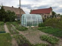 Tunel foliowy na rurkach PCV w dużym ogrodzie