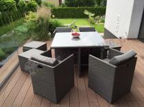 Wypoczynki ogrodowe z technorattanu fotele i pufy