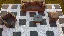 Wypoczynki ogrodowe z technorattanu zestaw z szarej plecionki