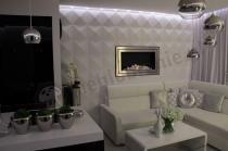 Wypukłe dekoracje ścienne w eleganckim nowoczesnym salonie