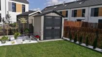 Zamykany szczelny domek ogrodowy na narzędzia z tworzywa Keter