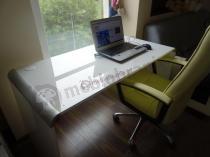 Zaokrąglone biurko na rogach Murano 130 w białym połysku