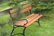 Żeliwna ławka ogrodowa ustawiona obok drzew iglastych