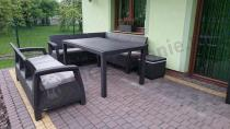 Zestaw brązowych mebli ogrodowych Corfu z poduszkami taupe