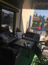 Zestaw Corfu Fiesta Family brązowy z poduszkami taupe