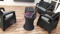 Zestaw Corfu Set antracytowy z pasującym stolikiem-barkiem