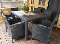 Zestaw obiadowy ogrodowy z wygodnymi fotelami z poduszkami dla 6 osób