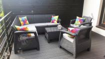 Zestaw ogrodowy Corfu Relax Duo grafitowy z kolorowymi poduszkami