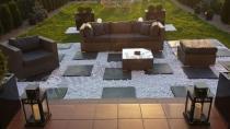 Zestaw ogrodowy technorattan sofa, fotel, pufa i stolik