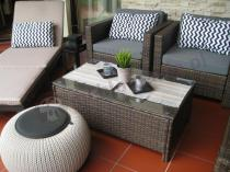 Zestaw ogrodowy z pufą Knit plecioną i leżakiem ogrodowym Keter