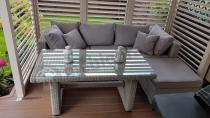 Zestaw stołowy z białego popielatego koloru na taras Ligurito V Plus