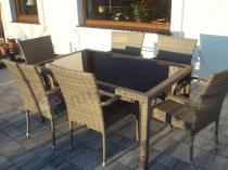 Zestawy obiadowe technorattan wysokie stoły i krzesła