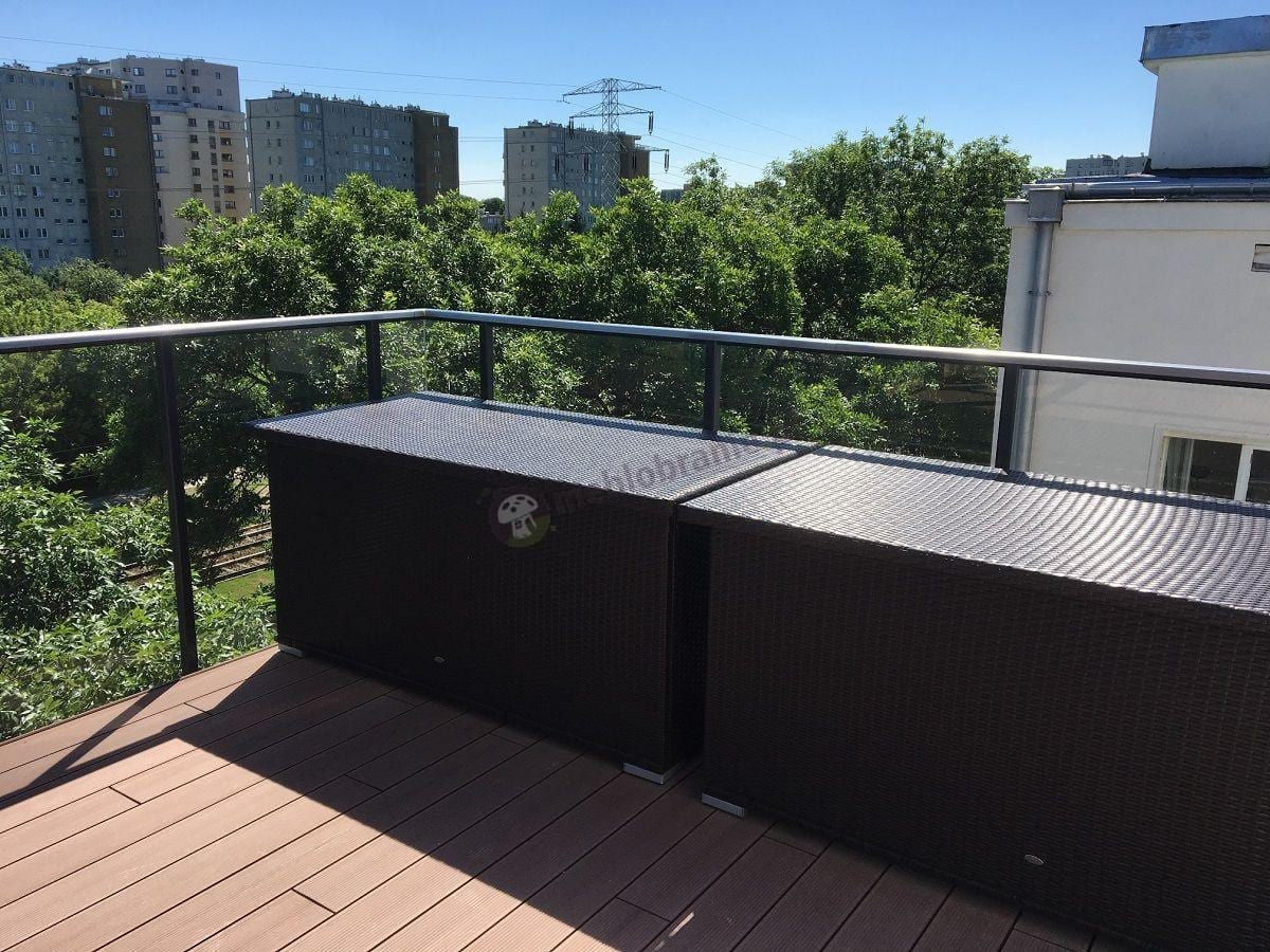 Skrzynia balkonowa technorattan w dwóch rozmiarach