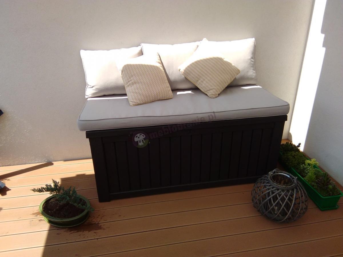 Skrzynia na taras na poduszki z funkcją siedziska
