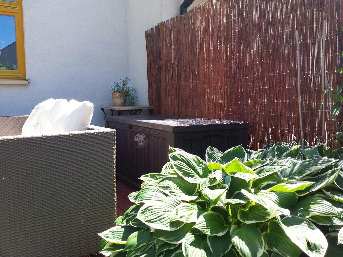 Skrzynia ogrodowa plastikowa Keter używana na tarasie