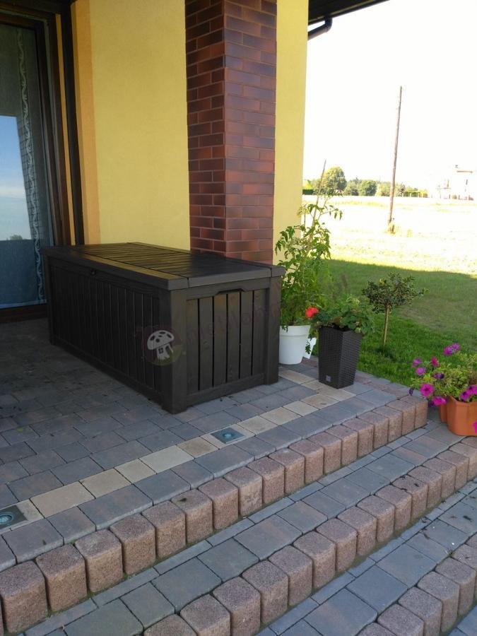 Skrzynia ogrodowa ustawiona na przydomowym tarasie