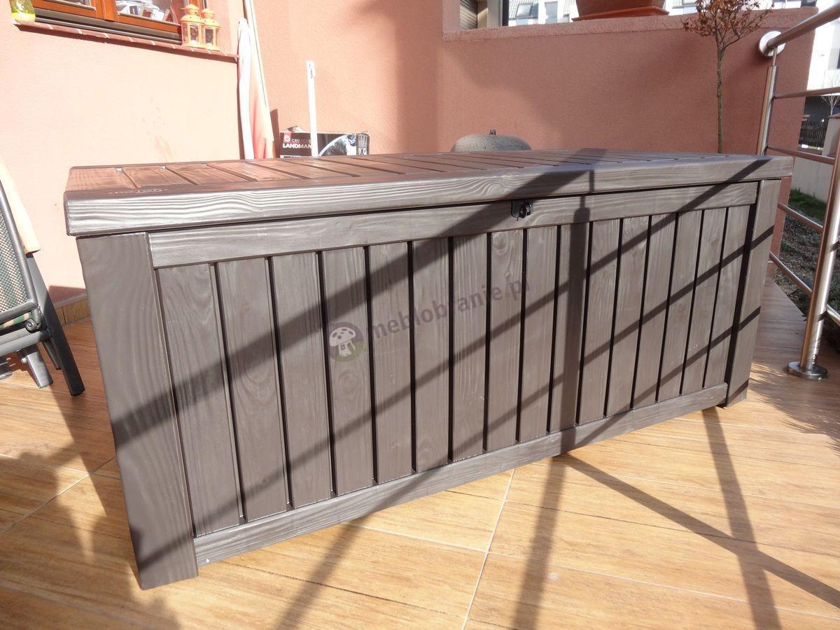 Skrzynia z tworzywa na balkon efekt drewna Rockwood Box