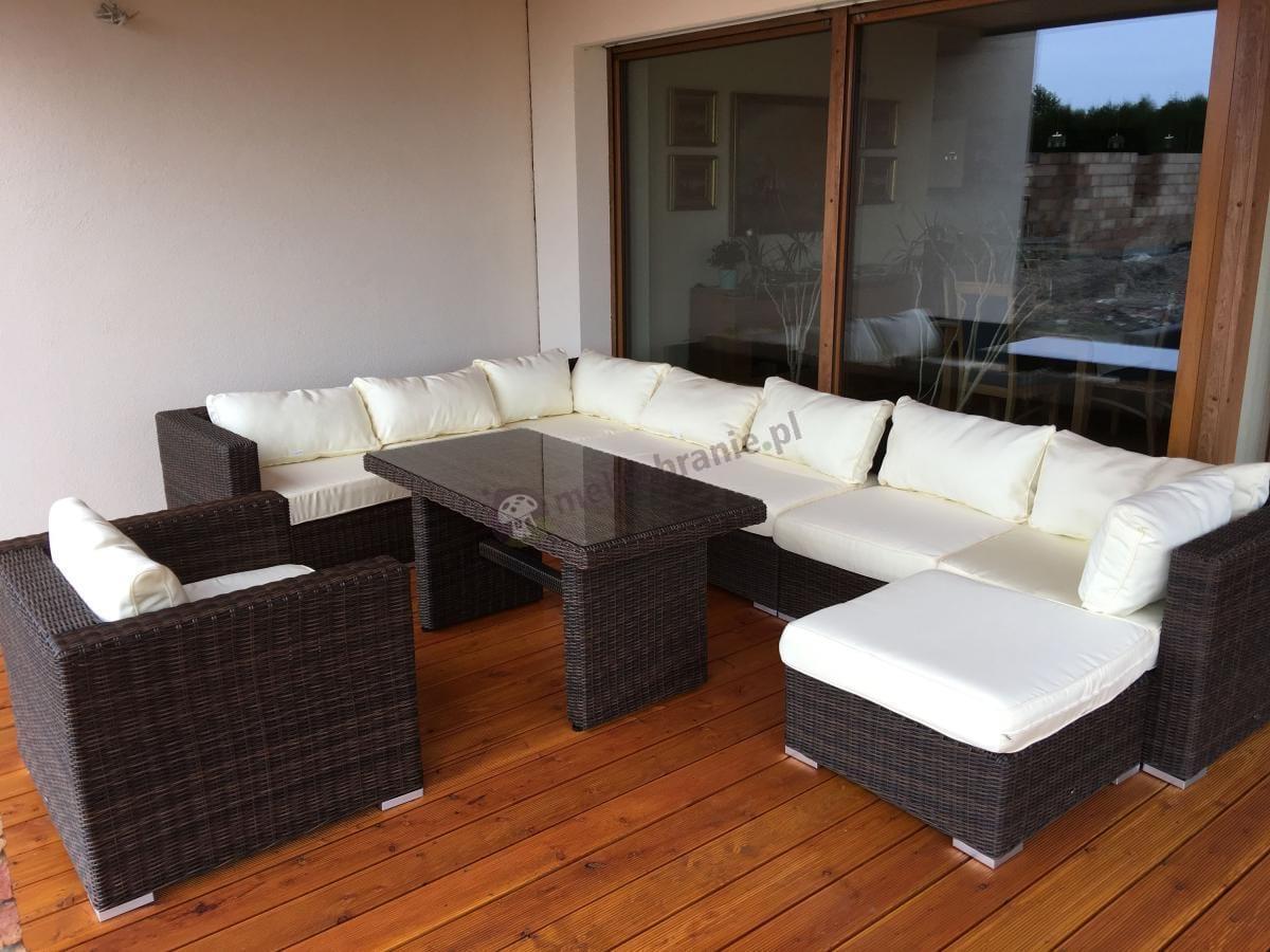 Słoneczne meble ogrodowe technorattan narożnik wysoki stół