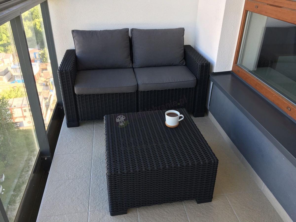 Sofa na balkon ze stolikiem Rattan Style Moorea Grafit