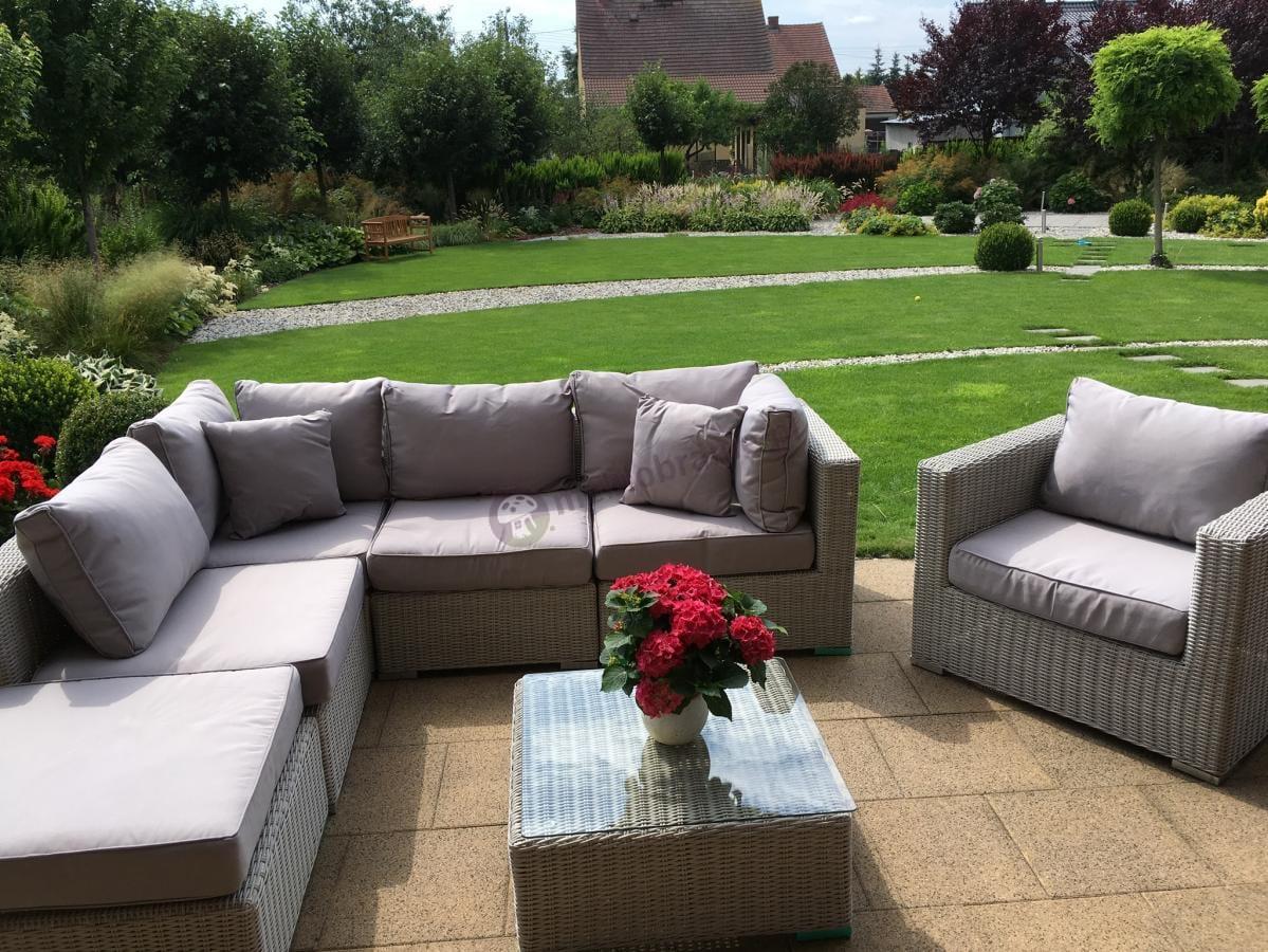 Sofa narożna z fotelem i stolikiem kwadratowym technorattan Ligurito