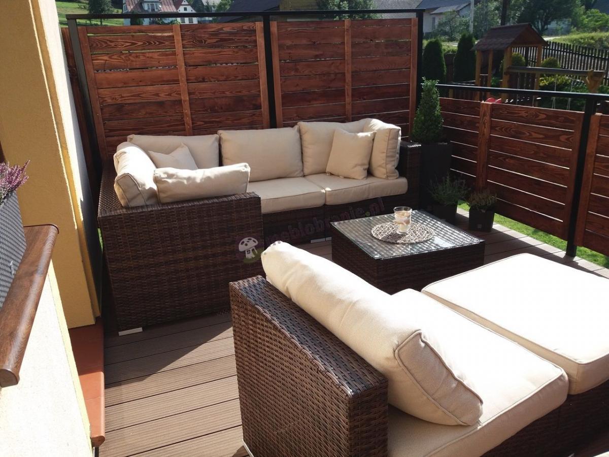 Sofa ogrodowa technorattan modułowa Nilamito IX Brown & Beige