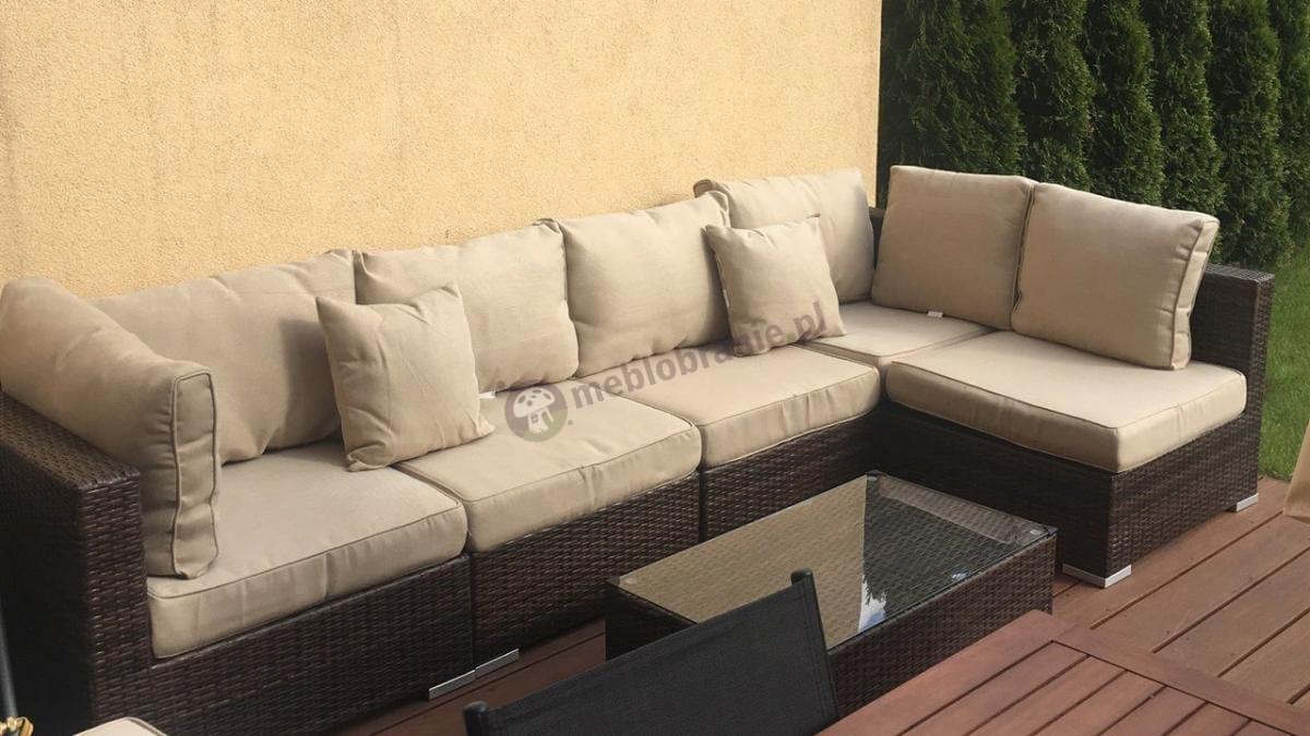 Sofa ogrodowa technorattan modułowa z prostokątnym stolikiem kawowym
