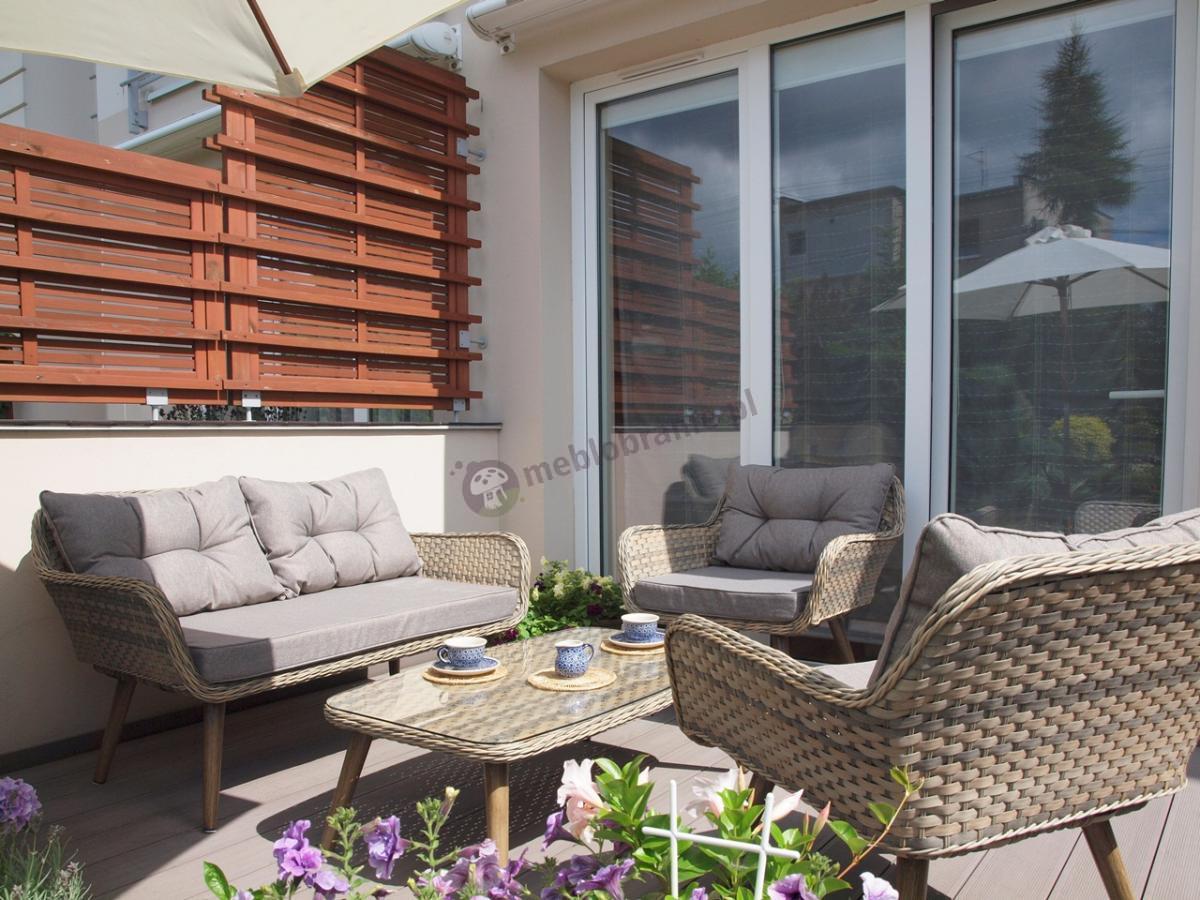 Sofa ogrodowa z technorattanu z dwoma fotelami i stolikiem Asturito