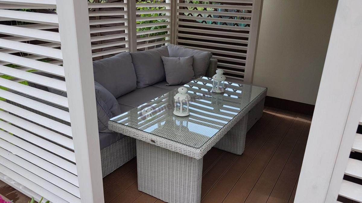 Sofa ogrodowa z wysokim stołem Technorattan Ligurito