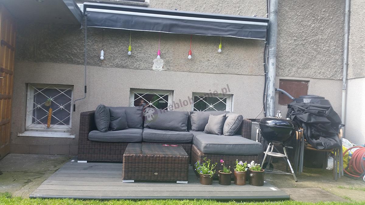 Sofa technoratan modułowa narożna ze stolikiem