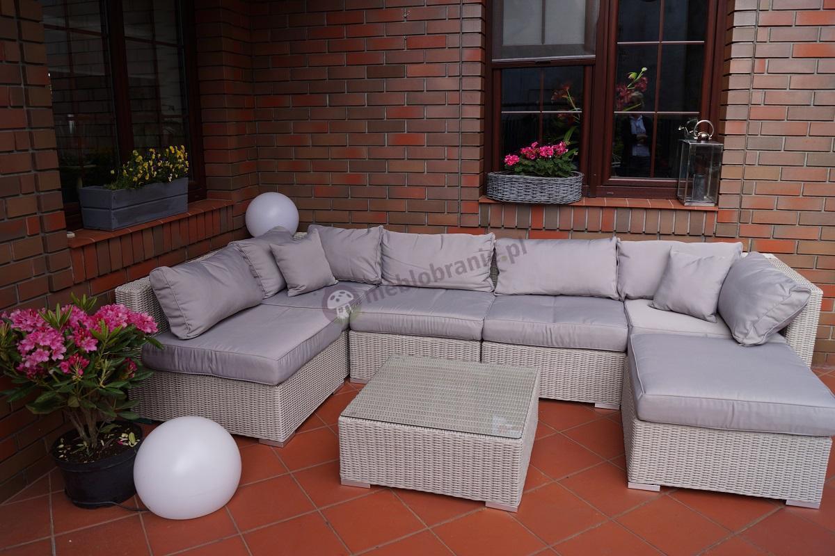 Sofa z technorattanu luksusowa półokrągła plecionka