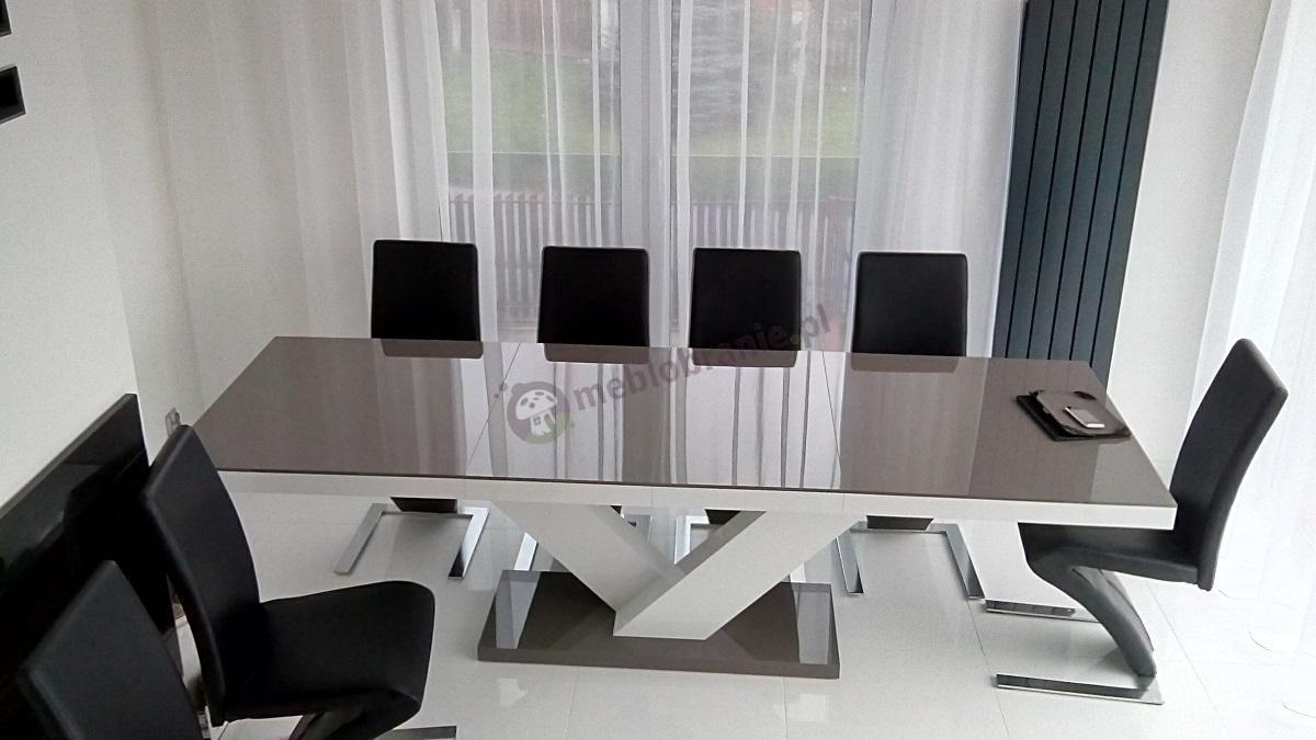 Stół do salonu rozkładany Victoria szary-biały-szary