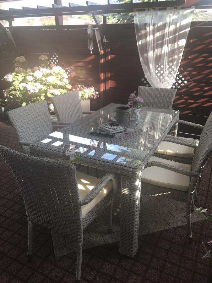 Stół i krzesła z technorattanu Nassico 160 Off-White Elite dla 6 osób